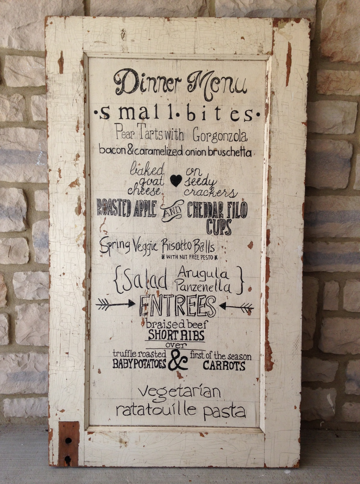1. Once you have found the item you are going to use for your sign measure the width and height of the space you will be writing on. The door I used ... & DIY: Wedding Menu Sign on Reclaimed Door | Chicku0027s Pea